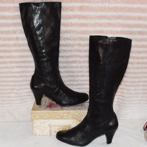 BORN Knee High Leather Black Boots Women's Size 8